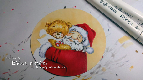 Whimsy Stamps - Santa and Teddy Portrait - www.quixoticcards.com/blog