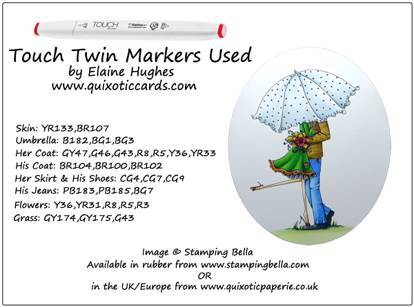Stamping Bella - Uptown Couple Emily & Ryan Under the Umbrella - www.quixoticcards.com