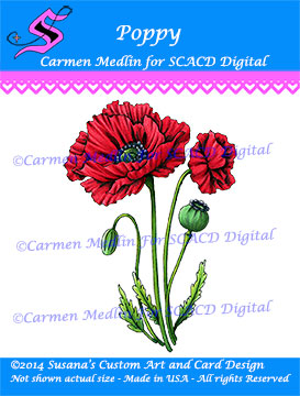 SCACD Digital Stamp - Poppy - www.markergeek.com