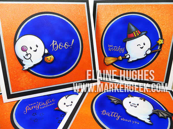 Waltzing Mouse Stamps - Boo & Friends Halloween Cards - www.markergeek.com