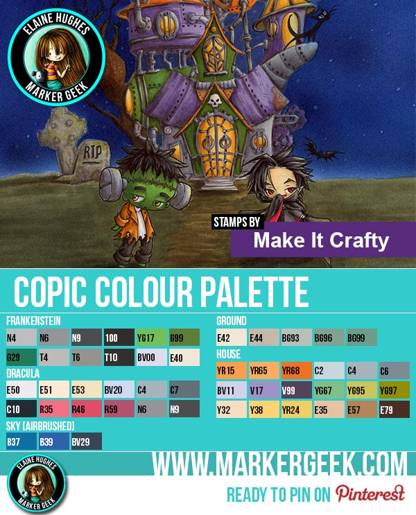 Make it Crafty - Haunted House & Mini MonstaBoyz Scene Copic Marker Palette - www.markergeek.com