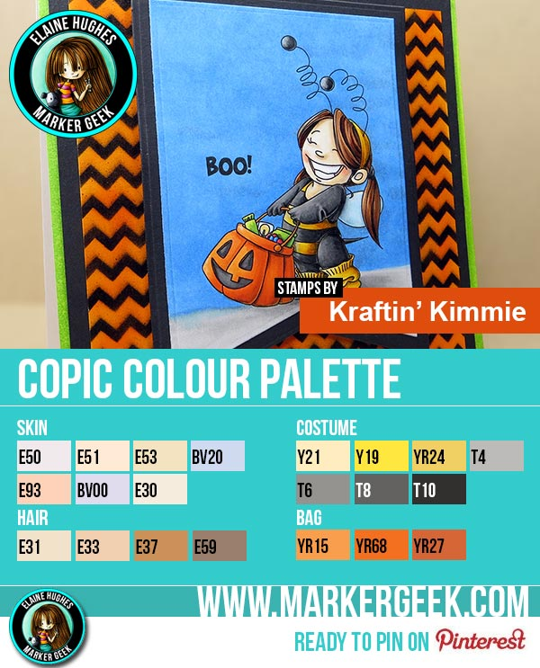 Kraftin' Kimmie Stamps - Too Cute To Spook 2 Copic Marker Colour Palette - www.markergeek.com