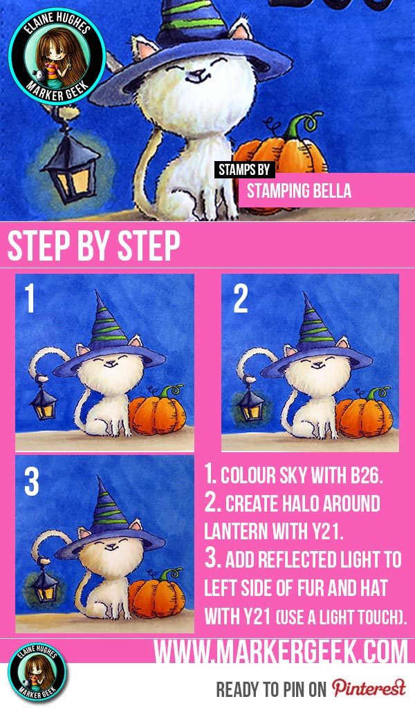 Stamping Bella - Hallowen Cat Simple Lantern Glow Guide - www.markergeek.com