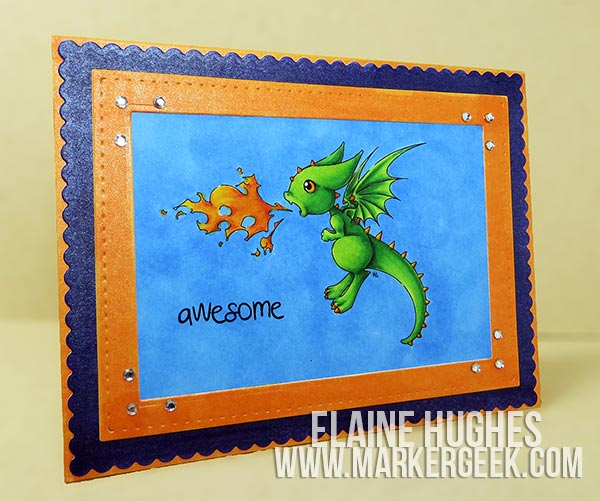 Make it Crafty Fiery Baby Dragon Card & Video - www.markergeek.com