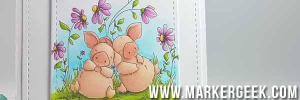 Stamping Bella - Woodsies - Petunia & Penny Take a Break Card - www.markergeek.com