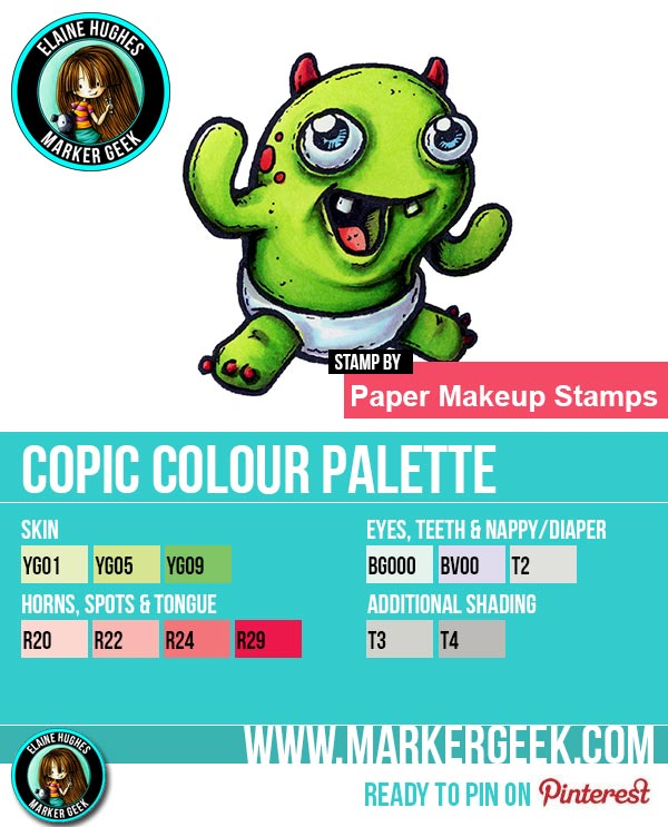 The Daily Marker 30 Day Colouring Challenge: Day 6 Paper Makeup Stamps Baby Boris  Copic Marker Colour Palette - www.markergeek.com