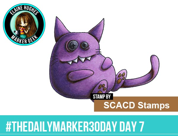 The Daily Marker 30 Day Colouring Challenge: Day 7 SCACD Stamps Those Days  - www.markergeek.com