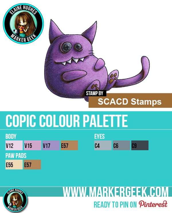 The Daily Marker 30 Day Colouring Challenge: Day 7 SCACD Stamps Those Days Copic Marker Colour Palette  - www.markergeek.com
