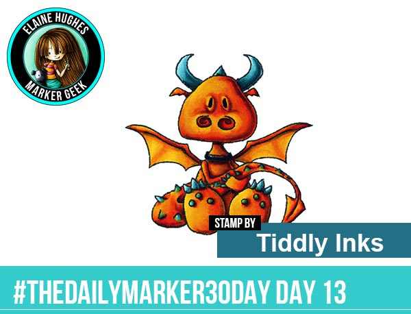 """The Daily Marker 30 Day Colouring Challenge: Day 13 Tiddly Inks """"Hello Pet"""" Dragon - www.markergeek.com"""