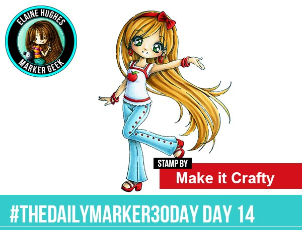 The Daily Marker 30 Day Colouring Challenge: Day 14 Make it Crafty Tress Joyful - www.markergeek.com