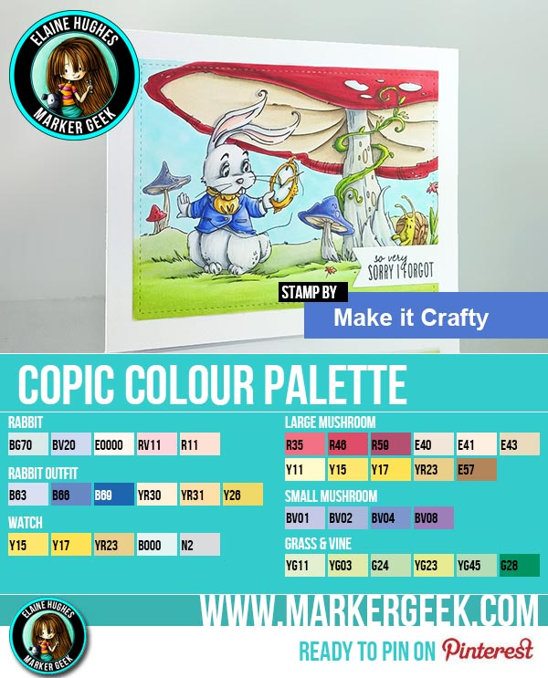 Make it Crafty Whimsical White Rabbit Copic Marker Colour Palette - www.markergeek.com