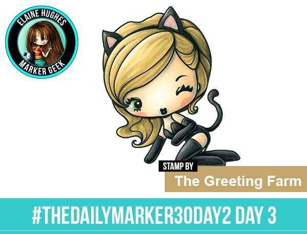 The Daily Marker 30 Day Colouring Challenge 2 - The Greeting Farm Cheeky Kitty www.markergeek.com