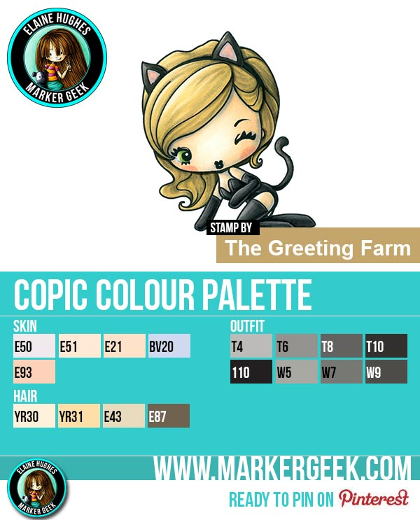 The Daily Marker 30 Day Colouring Challenge 2 - The Greeting Farm Cheeky Kitty Copic Colour Palette www.markergeek.com