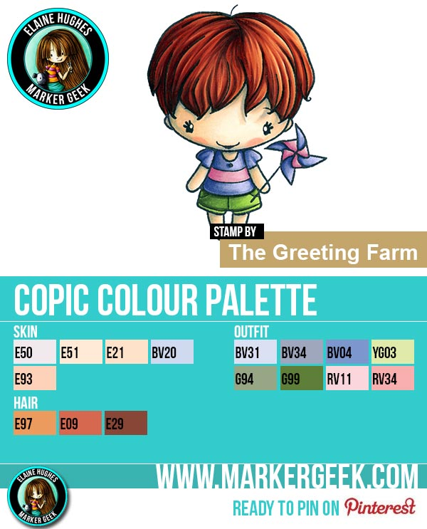 The Daily Marker 30 Day Colouring Challenge 2 - The Greeting Farm Twirl Anya Copic Colour Palette www.markergeek.com