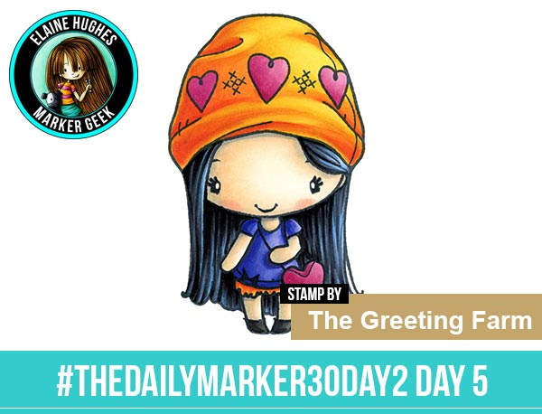 The Daily Marker 30 Day Colouring Challenge 2 - The Greeting Farm Amor Anya www.markergeek.com
