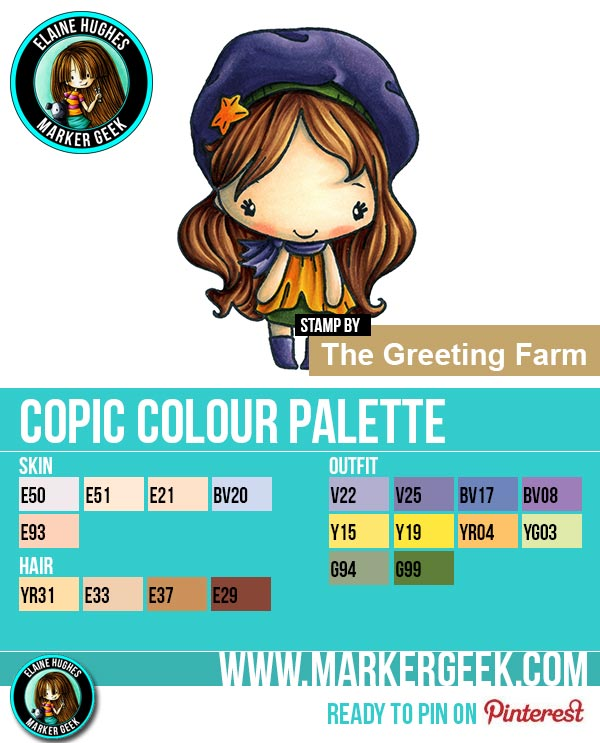 The Daily Marker 30 Day Colouring Challenge 2 - The Greeting Farm Day Out Anya Copic Colour Palette www.markergeek.com