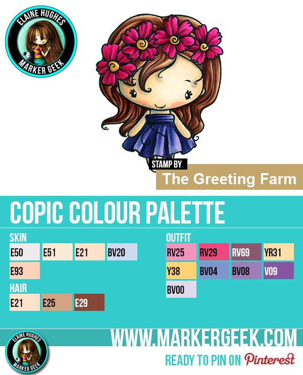 The Daily Marker 30 Day Colouring Challenge 2 - The Greeting Farm Fleur Anya Copic Colour Palette www.markergeek.com