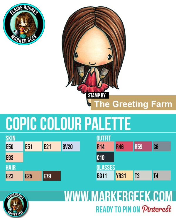 The Daily Marker 30 Day Colouring Challenge 2 - The Greeting Farm Cheers Anya Copic Colour Palette www.markergeek.com