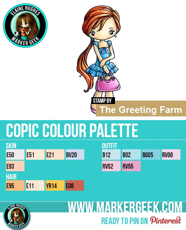 The Daily Marker 30 Day Colouring Challenge 2 - The Greeting Farm Miss Anya Summer Copic Colour Palette www.markergeek.com