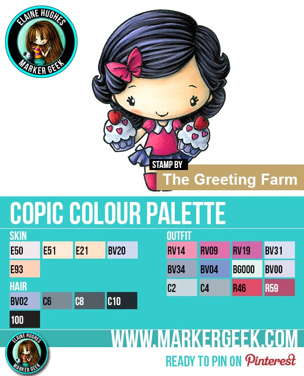 The Daily Marker 30 Day Colouring Challenge 2 - The Greeting Farm Double Cupcake Anya Copic Colour Palette www.markergeek.com