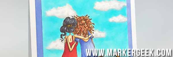 Uptown Girls Belinda & Bernadette Bench Buddies with Copic Cloudy Sky Background - www.markergeek.com