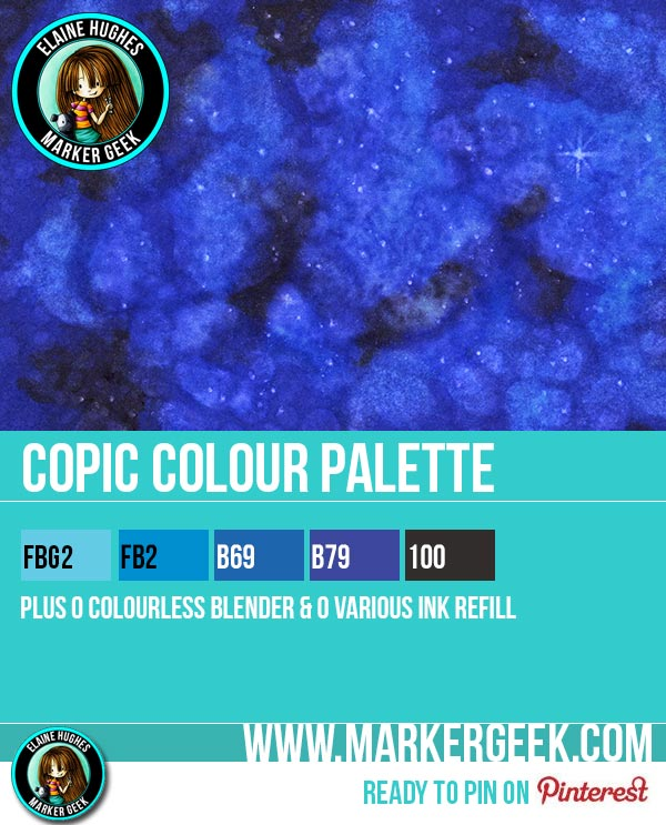 Copic Galaxy Step by Step Tutorial & Card Copic Colour Palette - www.markergeek.com
