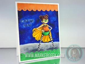 Stamping Bella Tiny Townie Hayley the Super Hero with Copic Galaxy Background - www.markergeek.com