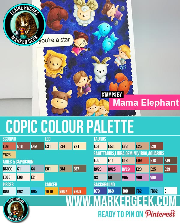 Mama Elephant Cosmic Stars with Copic Galaxy Background Copic Marker Colour Palette - www.markergeek.com