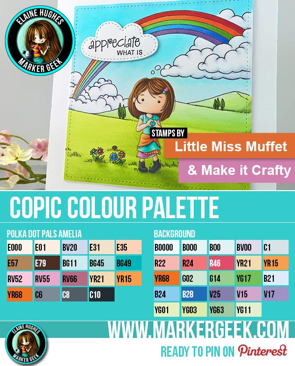 Little Miss Muffet Stamps & Make it Crafty Scene Card & Copic Marker Colour Palette - www.markergeek.com