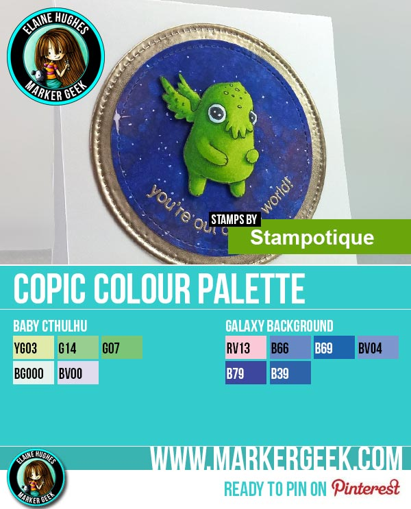Stampotique Baby Cthulhu Card & Copic Marker Colour Palette - www.markergeek.com