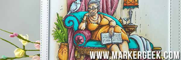 Stamping Bella The Reader by Mo Manning Card - www.markergeek.com
