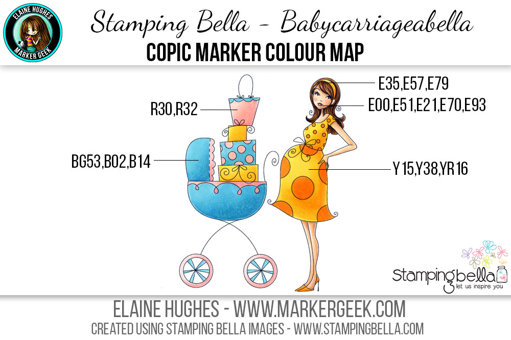 Stamping Bella - Bella 2.0 - Babycarriageabella Copic Colour Map www.markergeek.com