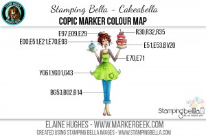 Stamping Bella June 2016 Release - Bella 2.0 - Cakeabella Copic Colour Map www.markergeek.com