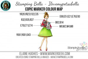 Stamping Bella June 2016 Release - Bella 2.0 - Ilovemypetsabella Copic Colour Map www.markergeek.com