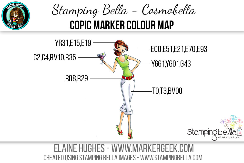 Stamping Bella - Bella 2.0 - Cosmobella Copic Colour Map www.markergeek.com