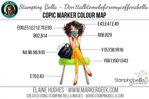 Stamping Bella - Bella 2.0 - Don'ttalktomebeforemycoffeeabella Copic Colour Map www.markergeek.com
