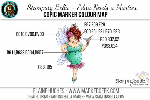 Stamping Bella - Edna Needs a Martini Copic Colour Map www.markergeek.com