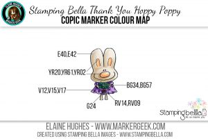 Stamping Bella Thank You Hoppy Poppy The Daily Marker 30 Day Challenge Copic Colour Map www.markergeek.com