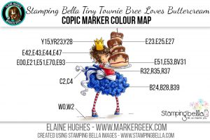 Stamping Bella Tiny Townie Bree Loves Buttercream Copic Colour Map. Click through to read the blog post!