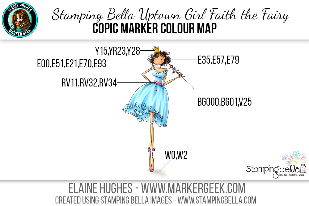 Stamping Bella Uptown Girl Faith the Fairy Daily Marker 30 Day Challenge. Click through for the Copic Colour Map and videos!
