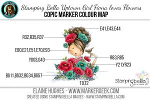 Stamping Bella Uptown Girl Fiona Loves Flowers The Daily Marker 30 Day Challenge Copic Colour Map www.markergeek.com