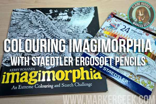 Colouring Imagimorphia Colouring Book with Staedtler Ergosoft Coloured Pencils. Click through to read the post and watch the videos!