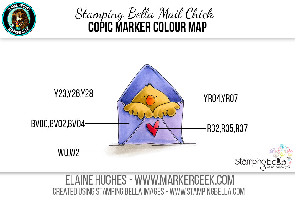 Stamping Bella Mail Chick #thedailymarker30day Click through for Copic Colour Maps and videos!