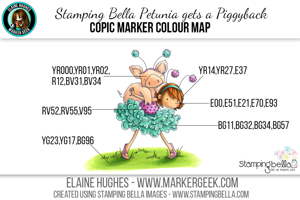 Stamping Bella Tiny Townie Petunia gets a Piggyback #thedailymarker30day Click through for Copic Colour Maps and videos!