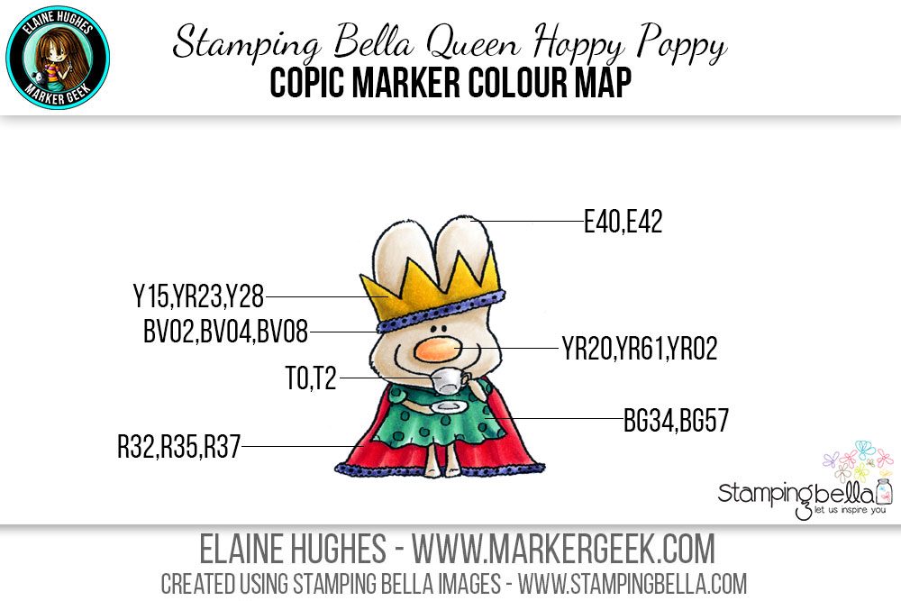 Stamping Bella Queen Hoppy Poppy #thedailymarker30day Click through for Copic Colour Maps and videos!