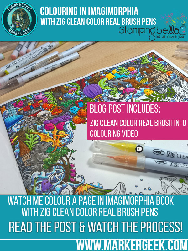 Colouring Imagimorphia with Zig Clean Color Real Brush Pens. Click through for a video and some tips!