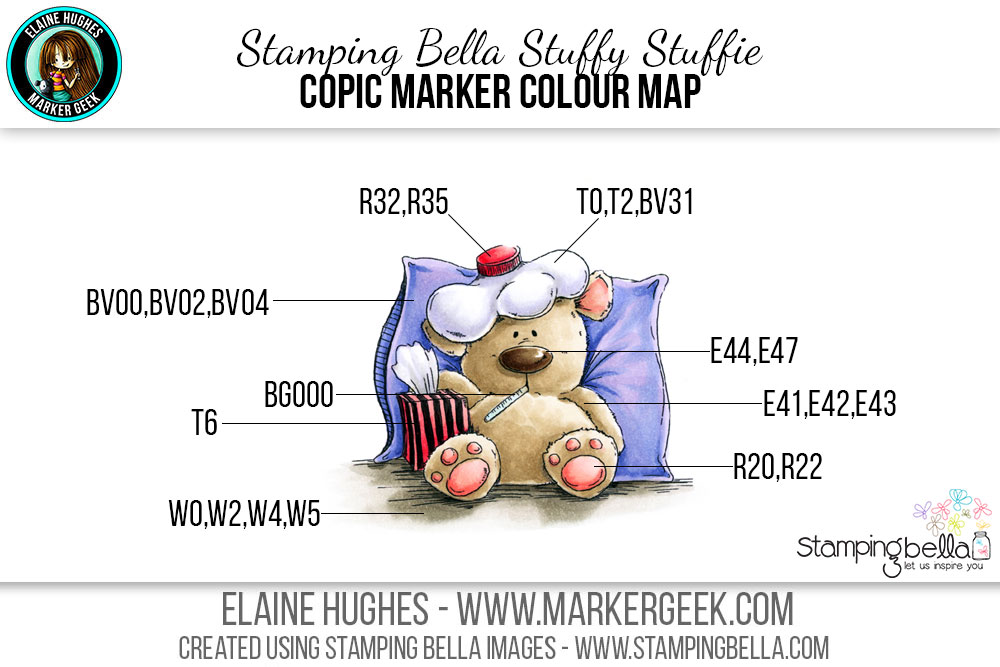 Stamping Bella Stuffy Stuffie #thedailymarker30day Click through for Copic Colour Maps and videos!