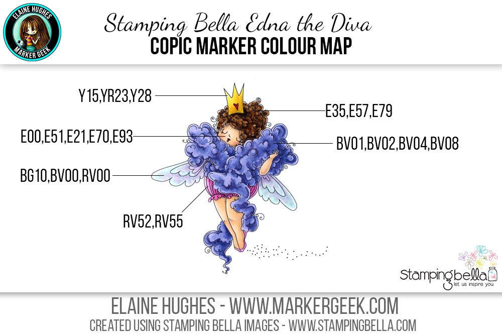 Stamping Bella Edna the Diva #thedailymarker30day Copic Colour Map