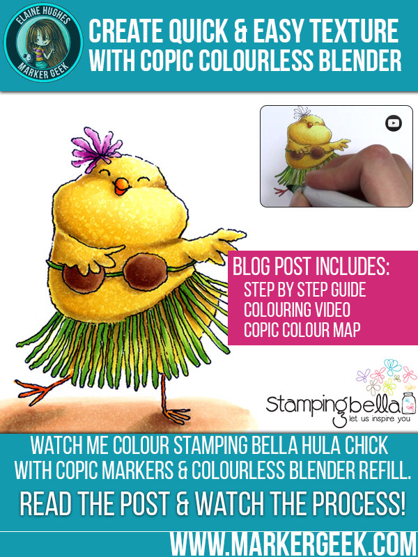 Quick and Easy Texture with Copic Colourless Blender. Click through for a video and step by step guide featuring Stamping Bella Hula Chick!