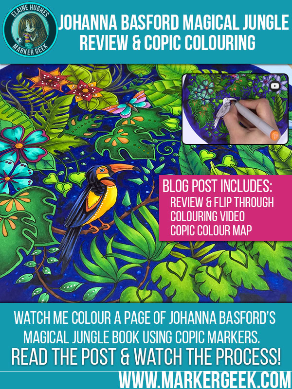 Johanna Basford Magical Jungle Colouring Book Review & Colouring. Click through to read the post and watch the videos!